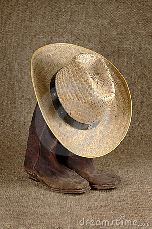 Boots and hat on burlap 2