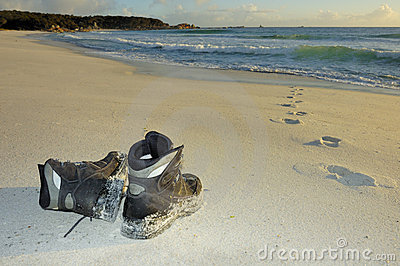 Boots left on the beach