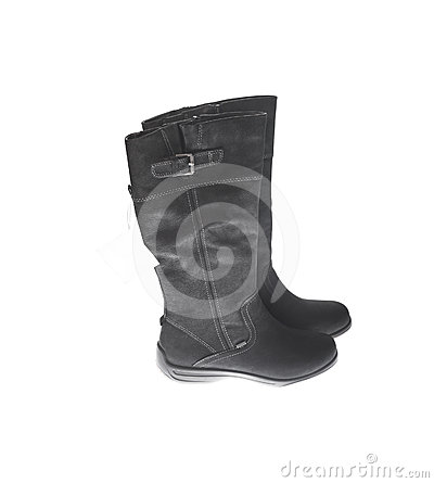 Boots with tag isolated on white