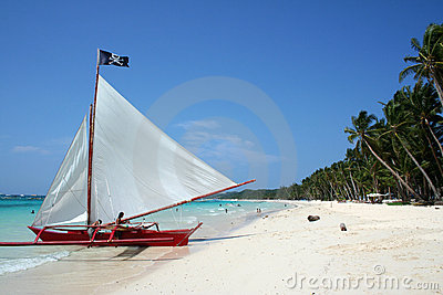 Boracay beach pirates paraw sailboat philippines