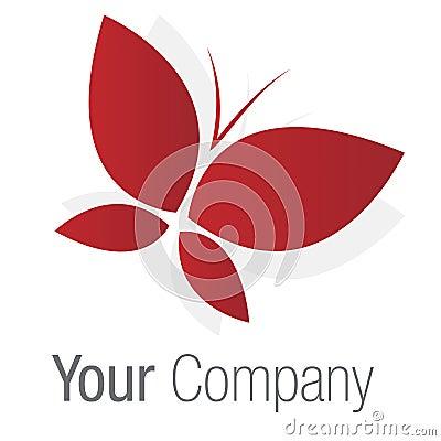Borboleta do vermelho do logotipo