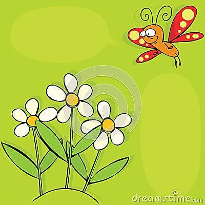 Borboleta e flores