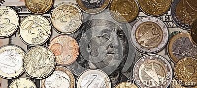 Bordadura de Franklin com euro- coints