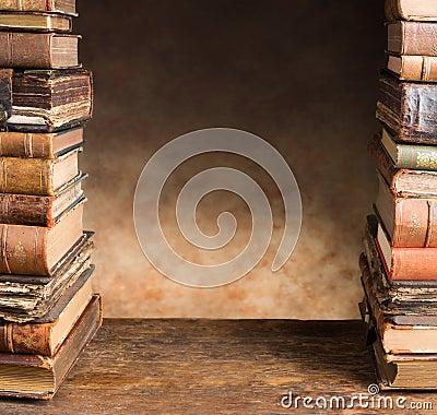 Border with antique books