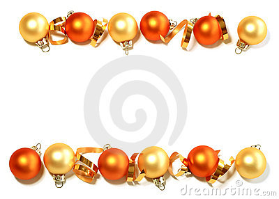 Border from Christmas balls isolated on white
