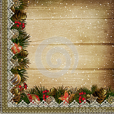 Border with Christmas decorations on wooden background