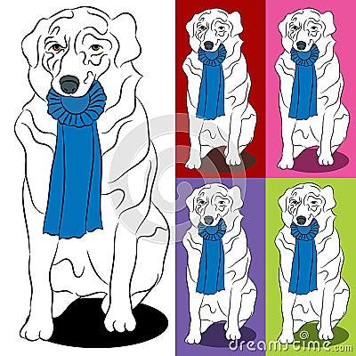 Border Collie Dog Holding Blue Ribbon Prize