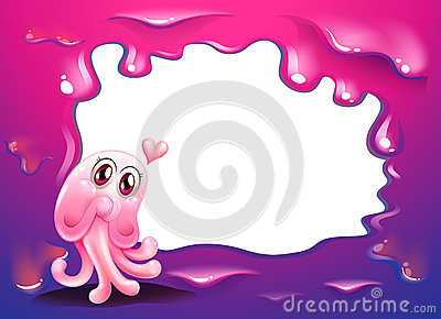 A border design with a pink octopus monster