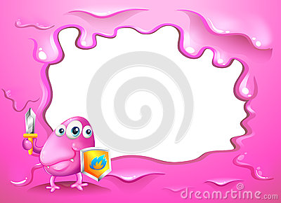 A border design with a pink three-eyed monster holding a shield