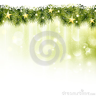 Border of fir twigs with golden stars