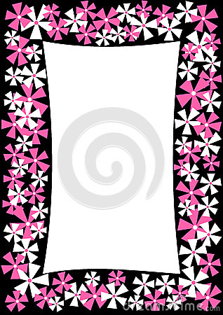 Border frame with pink and white flowers