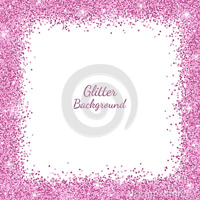 Free Border Frame With Pink Glitter On White Background. Vector Stock Images - 110740114