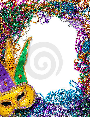 Free Border Made Of Mardi Gras Bead And Mask On White Royalty Free Stock Photos - 12104788