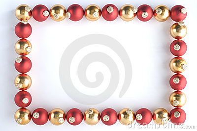 Border Made From Red And Gold Baubles