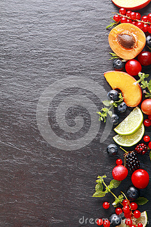 Free Border Of Fresh Fruit And Herbs Royalty Free Stock Photos - 43418588