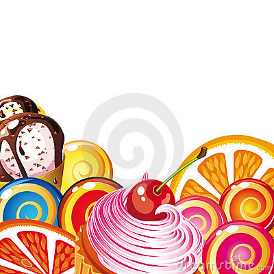Free Border Of Sweets, Cakes, Fruit, Berries Stock Photo - 10236760