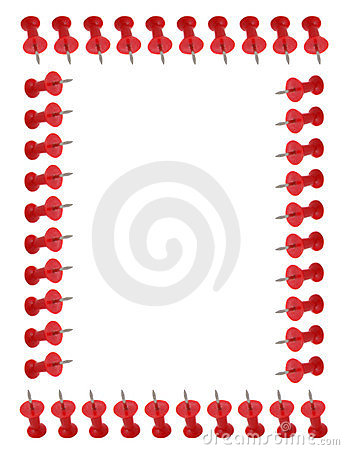 Border of red push pins