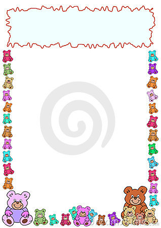 Border of teddies and frame