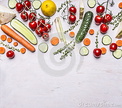 Free Border  Various Fresh Fruits And Vegetables Herbs Seasoning Vegetarian Food On Wooden Rustic Background Top View Place For Text Royalty Free Stock Images - 61713969