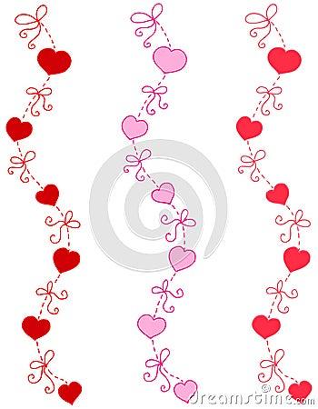 Bordi decorativi del nastro e del cuore immagini stock for Bordi decorativi