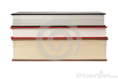 Bordo anteriore di una pila di tre libri