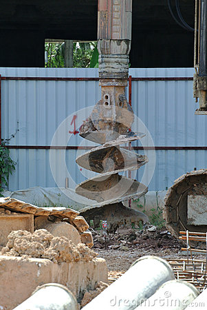 Free Bore Pile Rig Auger At The Construction Site Stock Photography - 62278392
