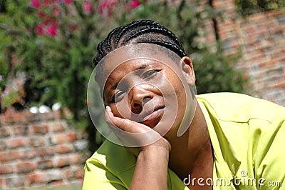 Bored african american woman