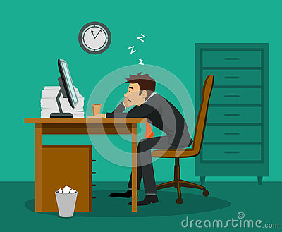 Bored employee sleeping at work desk in the office Vector Illustration
