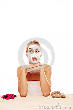 Bored woman in a face mask