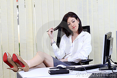 Bored woman in office