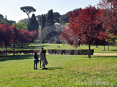 Borghese Gardens in Spring Rome Italy Editorial Photo