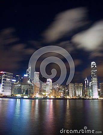 Borne limite de Hong Kong la nuit