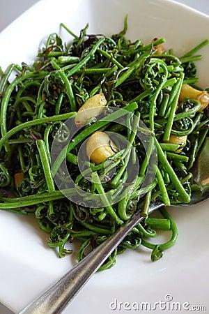 Bornean local dish - fresh jungle ferns stir fry