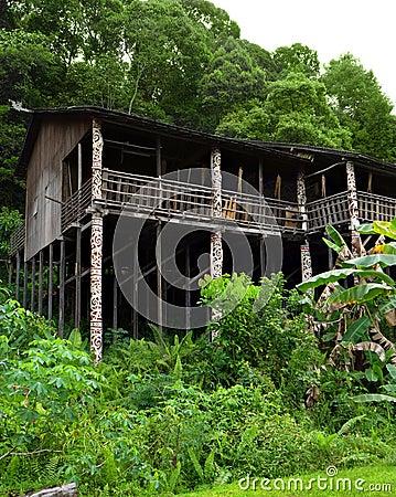 Borneo sarawak tribal longhouse architecture