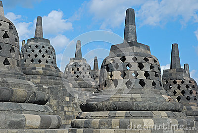 Borobudur - Bell-shaped and Perforated Stupa s