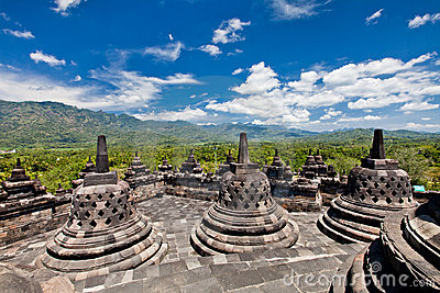 Borobudur old buddhist temple in Yogyakarta, Java,
