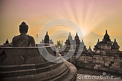 Borobudur temple and buddha statue