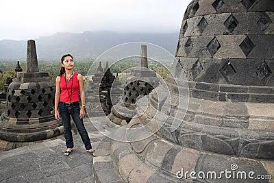 Borobudur temple girl java indonesia