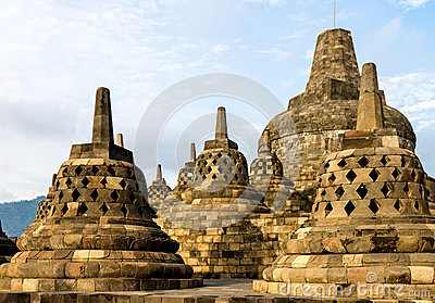 Borobudur temple stupas, Java island, Indonesia
