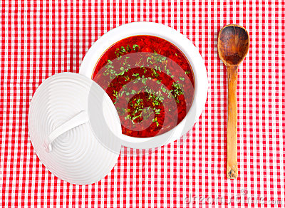 borsch on a checked cloth