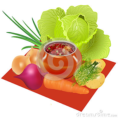 Borsch in pot and vegetables for preparation