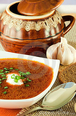 Borsch, soup from a beet and cabbage with tomato