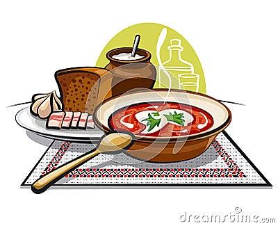 Borscht soup and lard with garlic