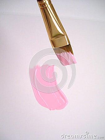 Borsta i rosa färg färgar