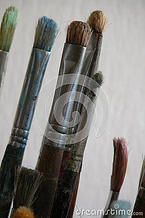 Borstar målar använt