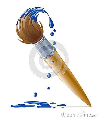 Borstel voor het schilderen met druipende blauwe verf