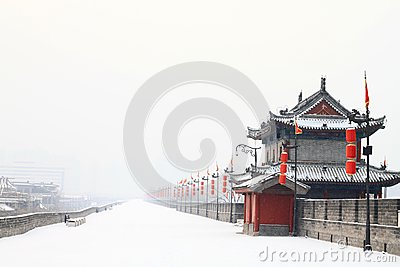 Borstwering coverd door de eerste sneeuw van 2011