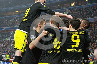 Borussia Dortmund celebrates goal during the Champions League match against Shakhtar Editorial Photography