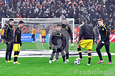 Borussia Dortmund football team warm up before the game Editorial Photo