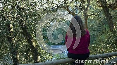 Bos die de weg overzien Jonge vrouwenzitting op het traliewerk uit nadruk stock video